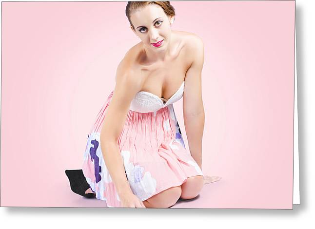 Cute Pin-up Housewife Cleaning Floor By Hand Greeting Card by Jorgo Photography - Wall Art Gallery