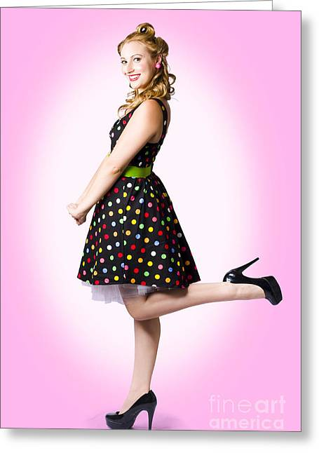 60s Hair Greeting Cards - Cute Pin-Up Style Fashion Model In Retro Dress Greeting Card by Ryan Jorgensen