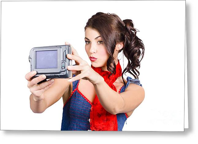 Cute Woman Filming Tutorial With Video Camera Greeting Card by Jorgo Photography - Wall Art Gallery