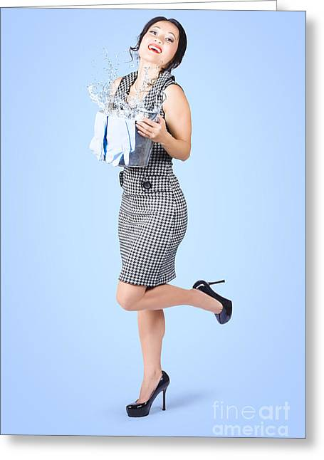 Cute Young Pinup Housewife Cleaning On Blue Greeting Card by Jorgo Photography - Wall Art Gallery