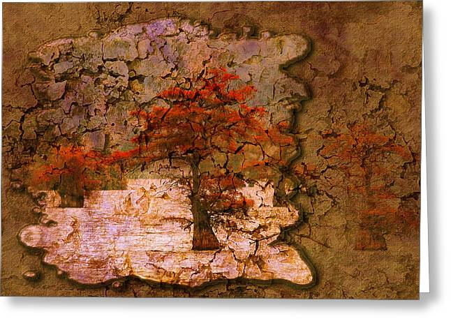 Masking Digital Art Greeting Cards - Cypress - Abstract Greeting Card by J Larry Walker