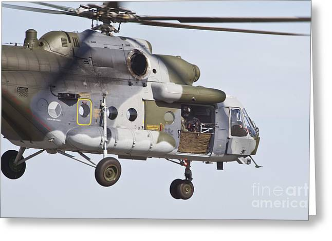 Hradec Greeting Cards - Czech Air Force Mi-171 Hip Helicopter Greeting Card by Timm Ziegenthaler