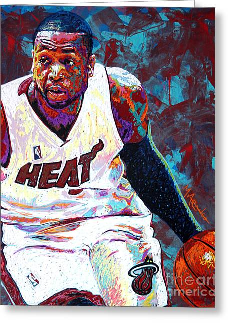 Basketball Paintings Greeting Cards - D. Wade Greeting Card by Maria Arango