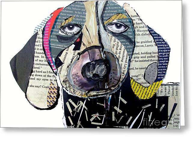 Puppies Mixed Media Greeting Cards - Dachshund  Greeting Card by Bri Buckley