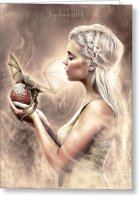 Game Mixed Media Greeting Cards - Daenerys Greeting Card by Judas Art
