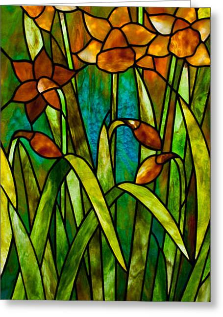 Art Nouveau Glass Art Greeting Cards - Daffodil Day Greeting Card by David Kennedy