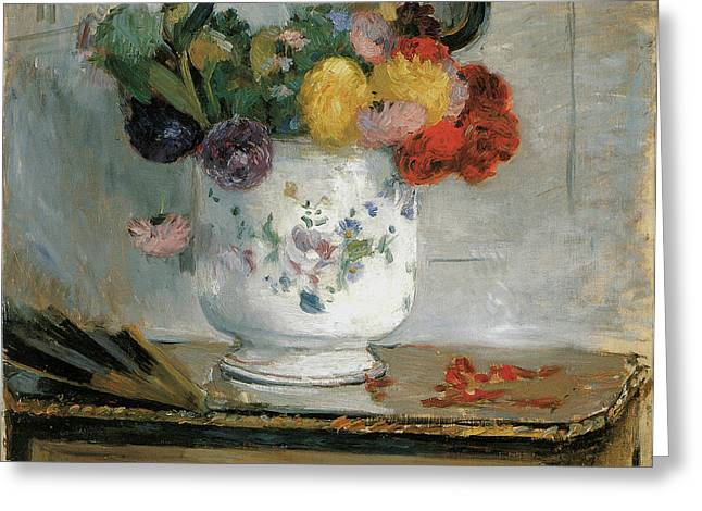 Recently Sold -  - Floral Still Life Greeting Cards - Dahlias Greeting Card by Berthe Morisot