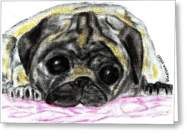 Puppies Pastels Greeting Cards - Daisys Red Blanket Greeting Card by Shaunna Juuti