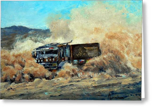 Gravel Road Paintings Greeting Cards - Rally Dakar Giant Greeting Card by Silvana Miroslava Albano