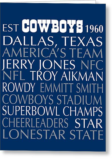Football Words Greeting Cards - Dallas Cowboys Greeting Card by Jaime Friedman