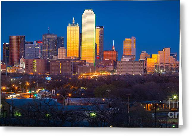 Dallas Photographs Greeting Cards - Dallas Skyline Greeting Card by Inge Johnsson
