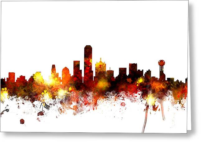 United States Greeting Cards - Dallas Texas Skyline Greeting Card by Michael Tompsett