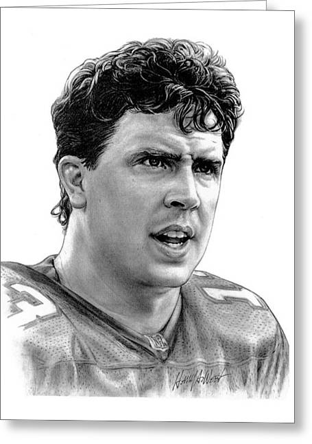 Photo Realism Drawings Greeting Cards - Dan Marino Greeting Card by Harry West