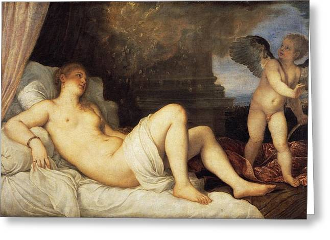 Danae Paintings Greeting Cards - Danae Greeting Card by Titian