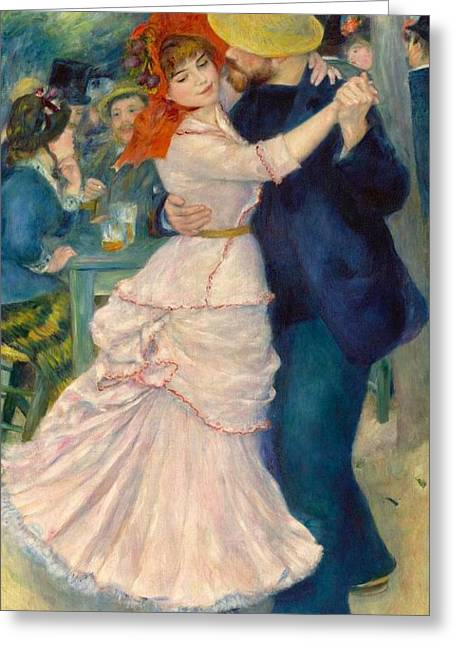 Bougival Greeting Cards - Dance at Bougival Greeting Card by Pierre-Auguste Renoir
