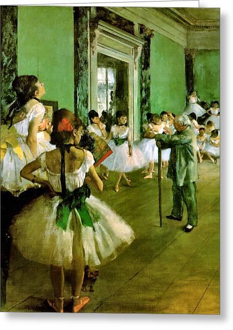 Dance Recital Greeting Cards - Dance Class  Greeting Card by Edgar Degas