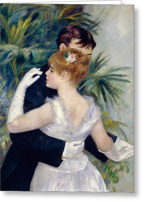 France 1874-1886 Greeting Cards - Dance in the City Greeting Card by Pierre-Auguste Renoir