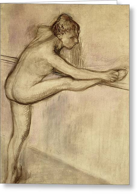 Stretching Drawings Greeting Cards - Dancer at the Bar Greeting Card by Edgar Degas