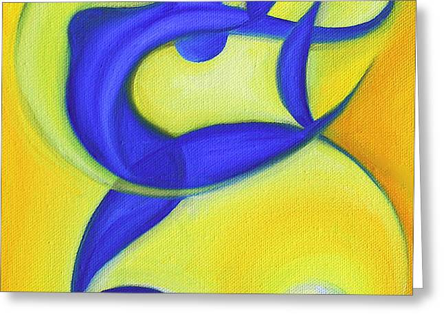 Dancing Sprite in Yellow and Blue Greeting Card by Tiffany Davis-Rustam