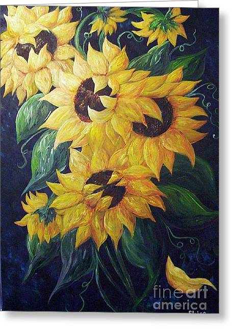 Dancing On The Beach Greeting Cards - Dancing Sunflowers  Greeting Card by Eloise Schneider