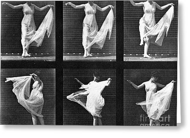 Twirl Greeting Cards - Dancing Woman Greeting Card by Eadweard Muybridge