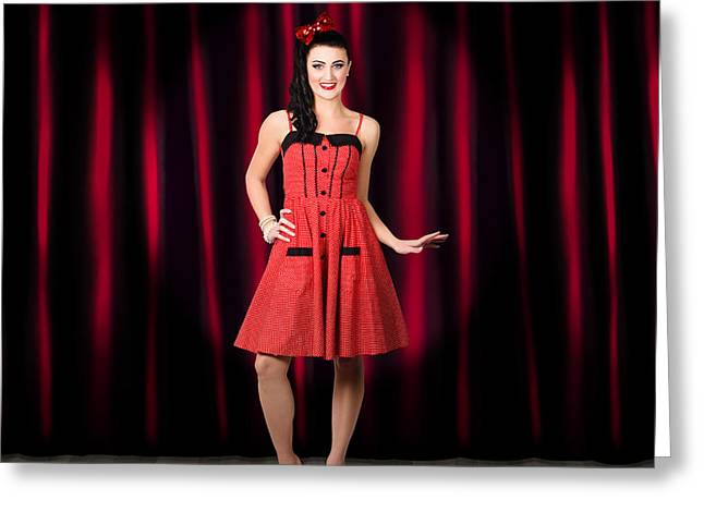 Dancing Woman Wearing Retro Rockabilly Dress  Greeting Card by Jorgo Photography - Wall Art Gallery