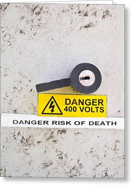 Volt Greeting Cards - Danger of death Greeting Card by Tom Gowanlock