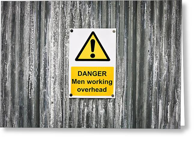 Regulations Greeting Cards - Danger sign Greeting Card by Tom Gowanlock