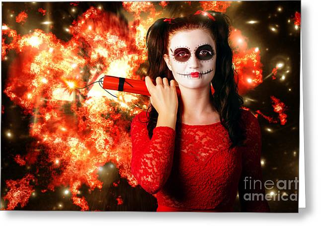 Pyrotechnics Greeting Cards - Dangerous sugarskull bomber holding dynamite Greeting Card by Ryan Jorgensen