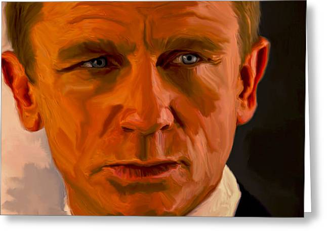 Terrorist Paintings Greeting Cards - Daniel Craig 007 Greeting Card by Brian Reaves