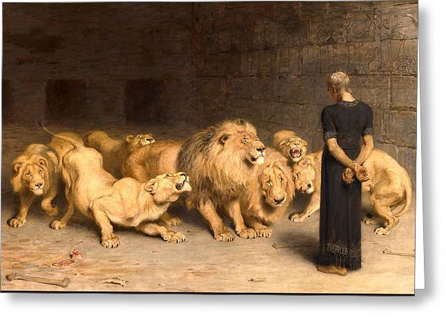 Daniel In The Lions Den Greeting Card by Celestial Images