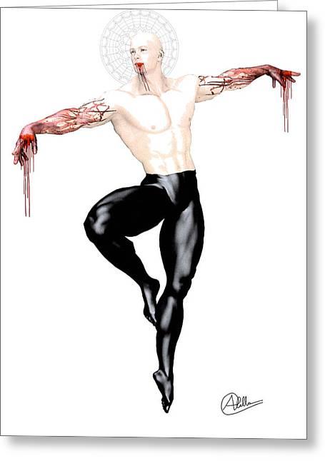 Graphite Digital Art Greeting Cards - Danse Macabre Greeting Card by Joaquin Abella