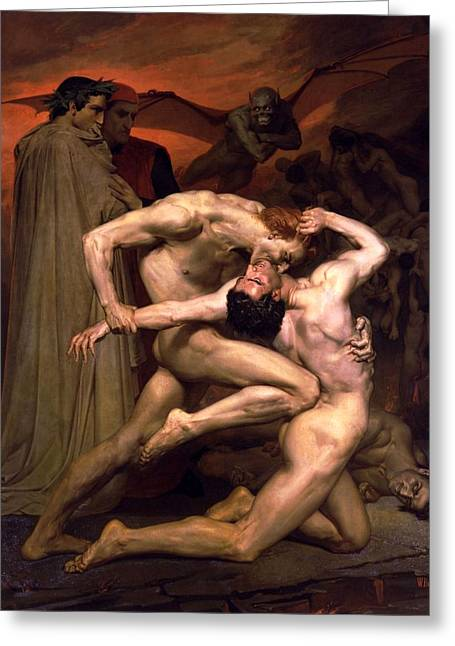 Dante And Virgil In Hell Greeting Card by William Adolphe Bouguereau
