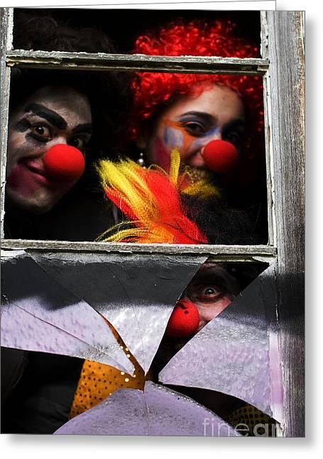 Freakish Greeting Cards - Dark Carnival Clowns Greeting Card by Ryan Jorgensen