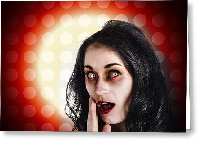 Dark Portrait Of A Zombie Girl In Shock Horror Greeting Card by Jorgo Photography - Wall Art Gallery