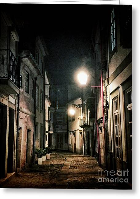 Old Stone Greeting Cards - Dark Street Greeting Card by Carlos Caetano