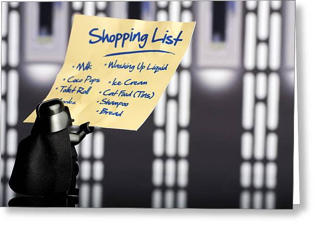 Lego Greeting Cards - Darths Shopping List Greeting Card by Samuel Whitton