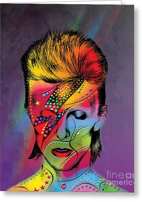 Hollywood Legend Greeting Cards - David Bowie Greeting Card by Mark Ashkenazi