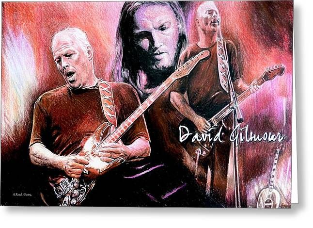 Orange Shirt Greeting Cards - David Gilmour Greeting Card by Andrew Read