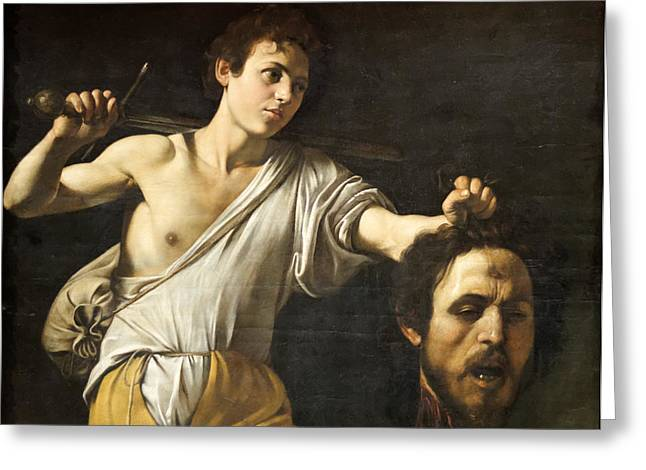 Michelangelo Caravaggio Greeting Cards - David with the Head of Goliath Greeting Card by Celestial Images