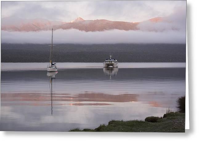 Snow Capped Greeting Cards - Dawn at Lake Te Anau Greeting Card by Rob Hill