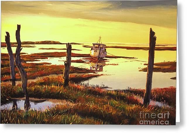 Dawn At Saltmarsh Greeting Card by David Lloyd Glover