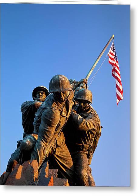 Dawn At The Iwo Jima Memorial Greeting Card by Brian Jannsen