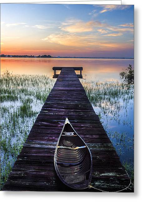 Sailboats At The Dock Greeting Cards - Dawn Greeting Card by Debra and Dave Vanderlaan