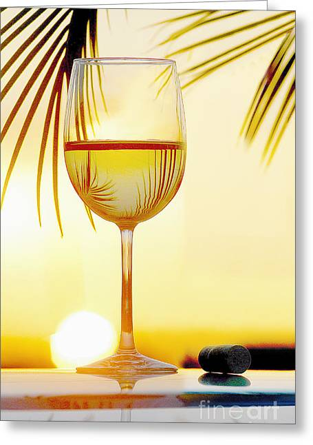 Red Wine Bottle Mixed Media Greeting Cards - Day at the Beach Greeting Card by Jon Neidert