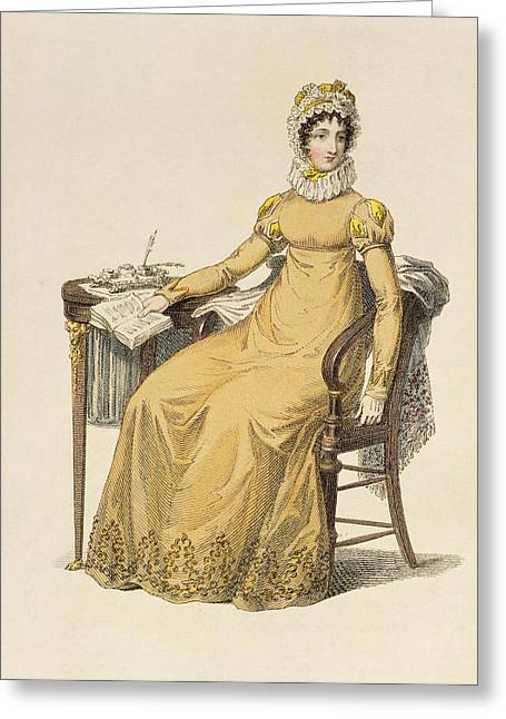 Ruff Collar Greeting Cards - Day Dress, Fashion Plate Greeting Card by English School