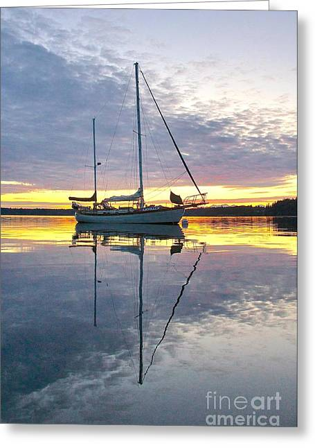 Yellow Sailboats Greeting Cards - Day is Done Greeting Card by Sean Griffin