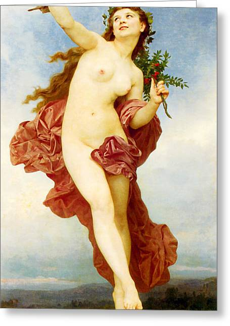 Academic Nudes Greeting Cards - Day Greeting Card by William-Adolphe Bouguereau