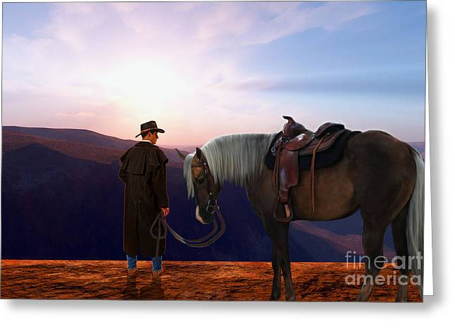 Cowboy Hands Greeting Cards - Daybreak Greeting Card by Corey Ford