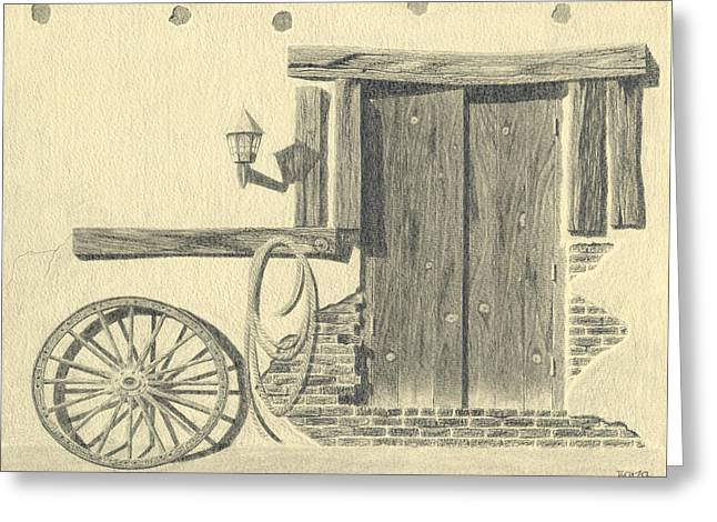 Wagon Wheels Drawings Greeting Cards - Days End Greeting Card by Dino Baiza